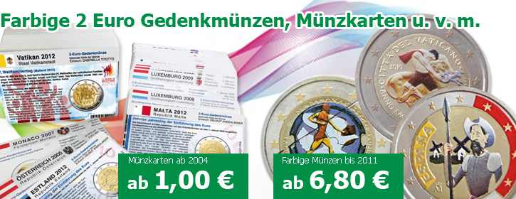 Colorierte farbige 2 Euro Münzen